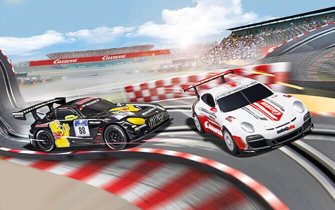 Spielzeugautos Rennstrecke 2 Autos 1:43 Rot Rennbahn Autorennbahn Komplettset Carrera Go !!